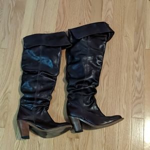 Jeffrey Campbell over the knee brown boots